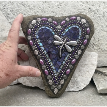 Purple Heart with Dragonfly, Garden Stone, Mosaic, Garden Decor