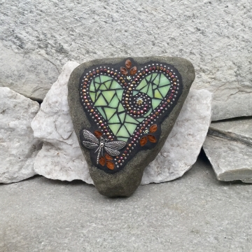 Pale Green Heart Garden Stone, Mosaic, Garden Decor