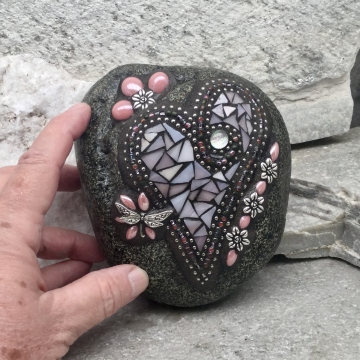 Light Pink Dragonfly Mosaic Heart Garden Stone, GardnerGift, Garden Decor