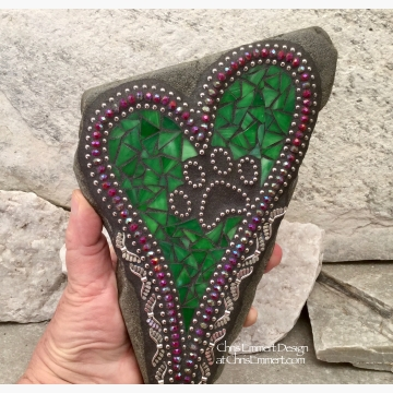 Pet Memorial Heart Garden Stone, Mosaic, Garden Decor, Pawprint