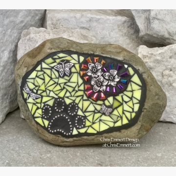 Pet Memorial, Iridescent Flowers with Yellow, Black Paw Print - Dragonfly, Garden Stone, Garden Decor'