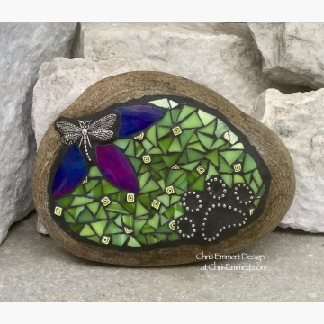 Blue Flower with Lime Green, Black Paw Print - Dragonfly, Garden Stone, Pet Memorial, Garden Decor'