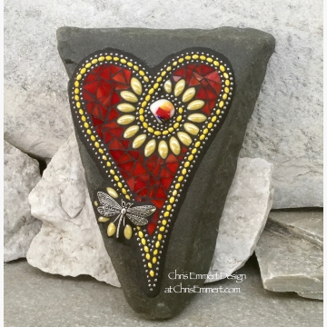 Red and Yellow Flower Mosaic Heart with Dragonfly, Garden Stone, Garden Decor