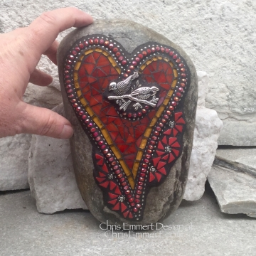 Red Heart with Birds and Flowers, Garden Stone, Mosaic, Garden Decor