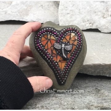 Orange Dragonfly Heart, Mosaic Paperweight / Garden Stone