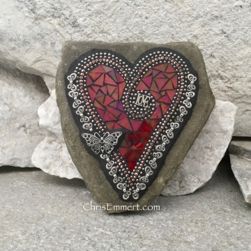 Red Love Mosaic Heart, Butterflies, Mosaic Rock, Mosaic Garden Stone,