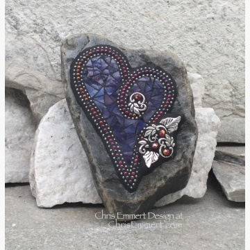 Purple Heart, Garden Stone, Mosaic, Garden Decor
