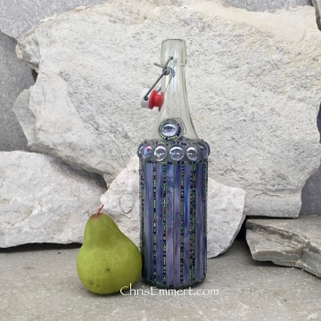 Mosaic Bottle. (1) Up-cycled Decanter, for Cooking Sherry, Olive Oil, Vinegar, Housewarming Gift,