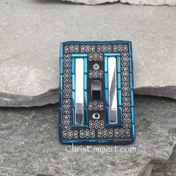 Mirror and Pewter Switch Plate, Iridescent Blue