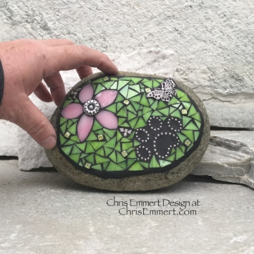 Pink Flower w/Lime Green, Black Paw Print - Garden Stone, Pet Memorial, Garden Decor'