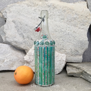 Mosaic Bottle. (2) Up-cycled Decanter, for Cooking Sherry, Olive Oil, Vinegar, Housewarming Gift,