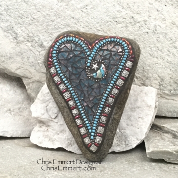 Moon and Star Blue Heart, Garden Stone, Mosaic, Garden Decor