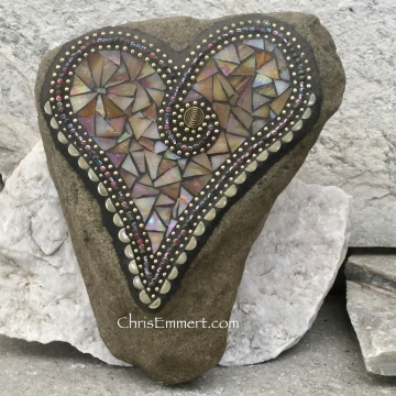 Iridescent Butter Cream Heart, Garden Stone, Mosaic, Garden Decor