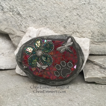 Green Flower w/Red, Black Paw Print - Garden Stone, Pet Memorial, Garden Decor' Dragonflies