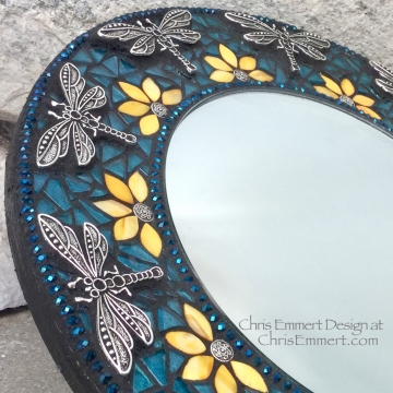 Blue Dragonfly Mosaic Mirror, Round Mosaic Mirror, Home Decor