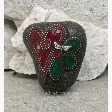 Deep Red Valentine Heart, Garden Stone, Green Flower