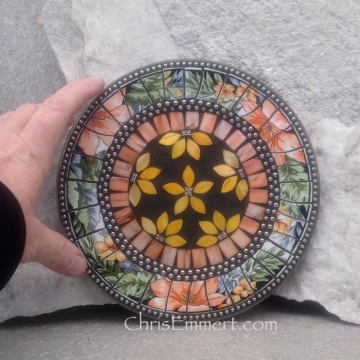 Mosaic Trivet, Candle Plate, Home Decor,  Mixed Media Art, Yellow Orange, Green, Peach and Black