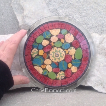 Mosaic Trivet, Candle Plate, Home Decor,  Mixed Media Art, Red, Green, Blue