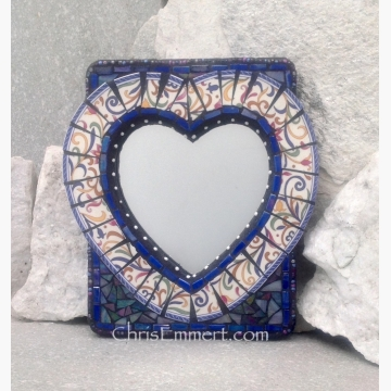 Mixed Media Mosaic Mirror, #2, Heart Shaped Mirror, Home Decor