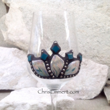 Iridescent White/Pink/Teal and Black Wine Glass Pair